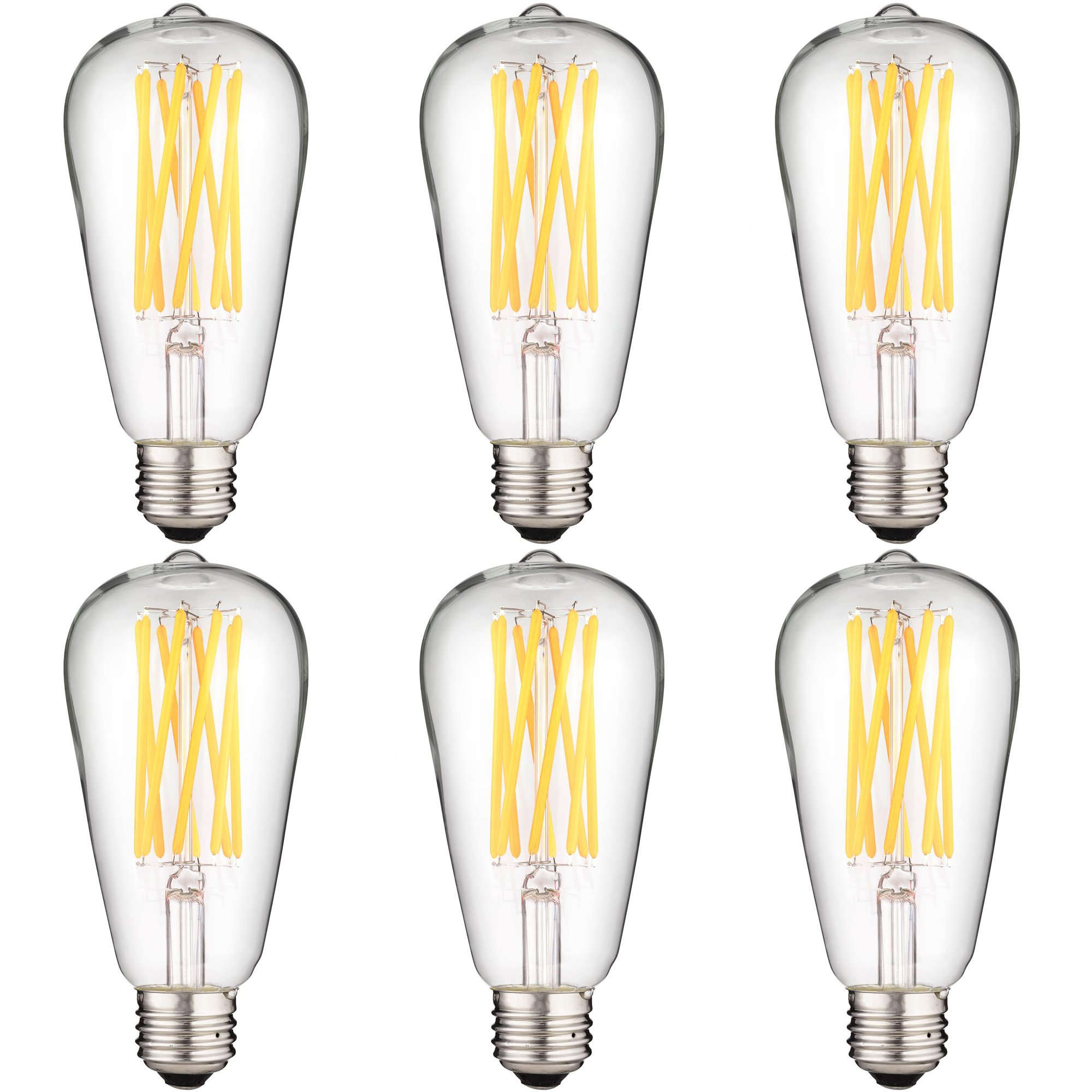 Sunlite - S19 LED Long Antique Style Bulb in Warm White, 8 Watts (60 Watt Equivalent), Dimmable, Medium Base, 15,000 Hours Lamp Life, 880 Lumens, Energy Efficient, Safety Rated, Indoor Use - 6 Pack