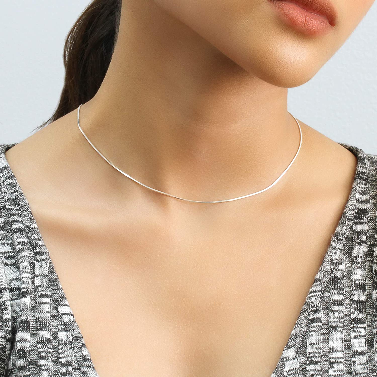 16, 18, 20, 22, 24, 30 Inch Double Accent 0.7mm Sterling Silver Italian Chain Necklace 8 Sided Snake Chain