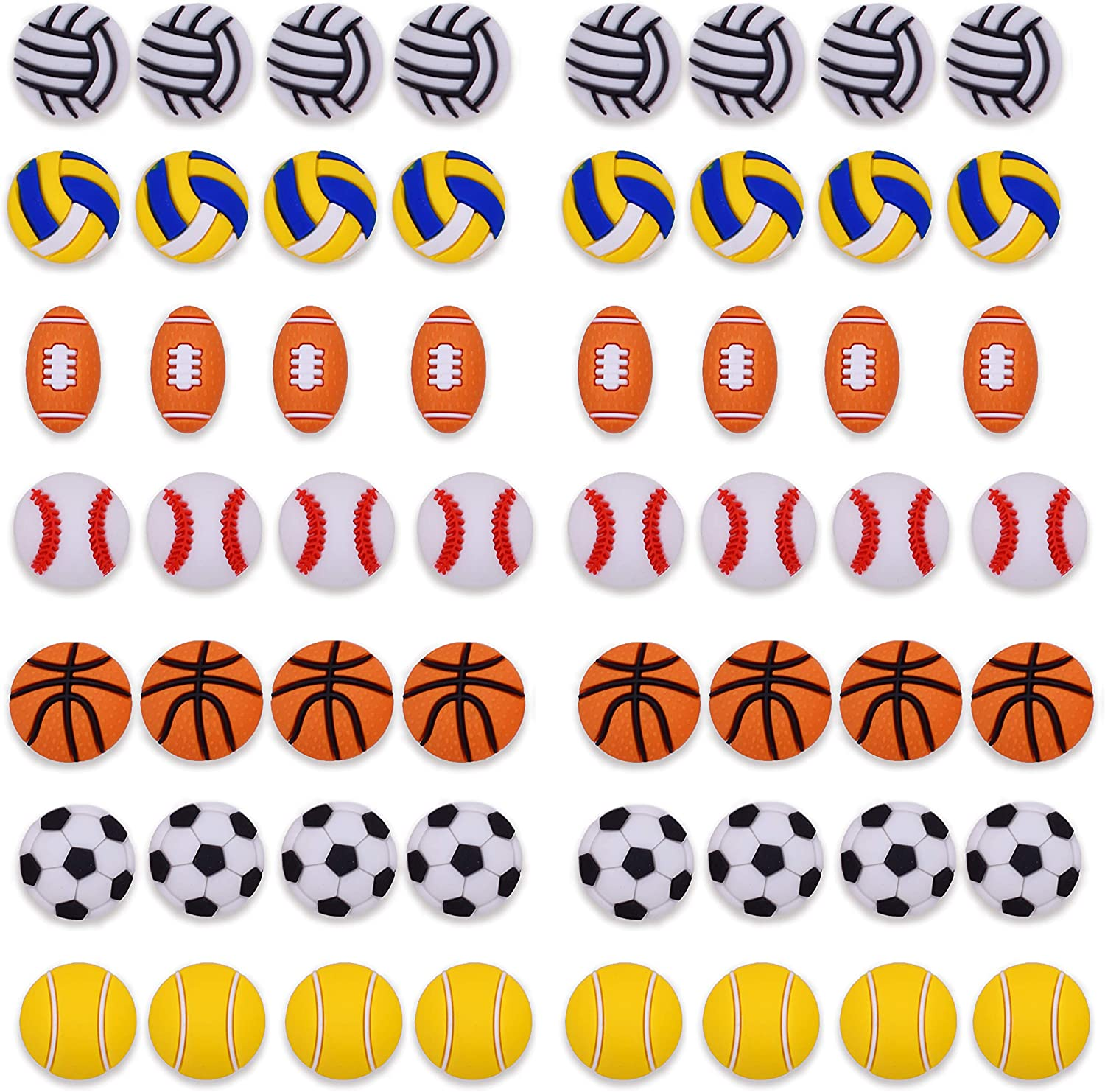28,56pcs 3D Sports Soccer Softball Tennis Shoe Charms Decorations for Croc Clog Shoes Teens Girls Boys Gifts