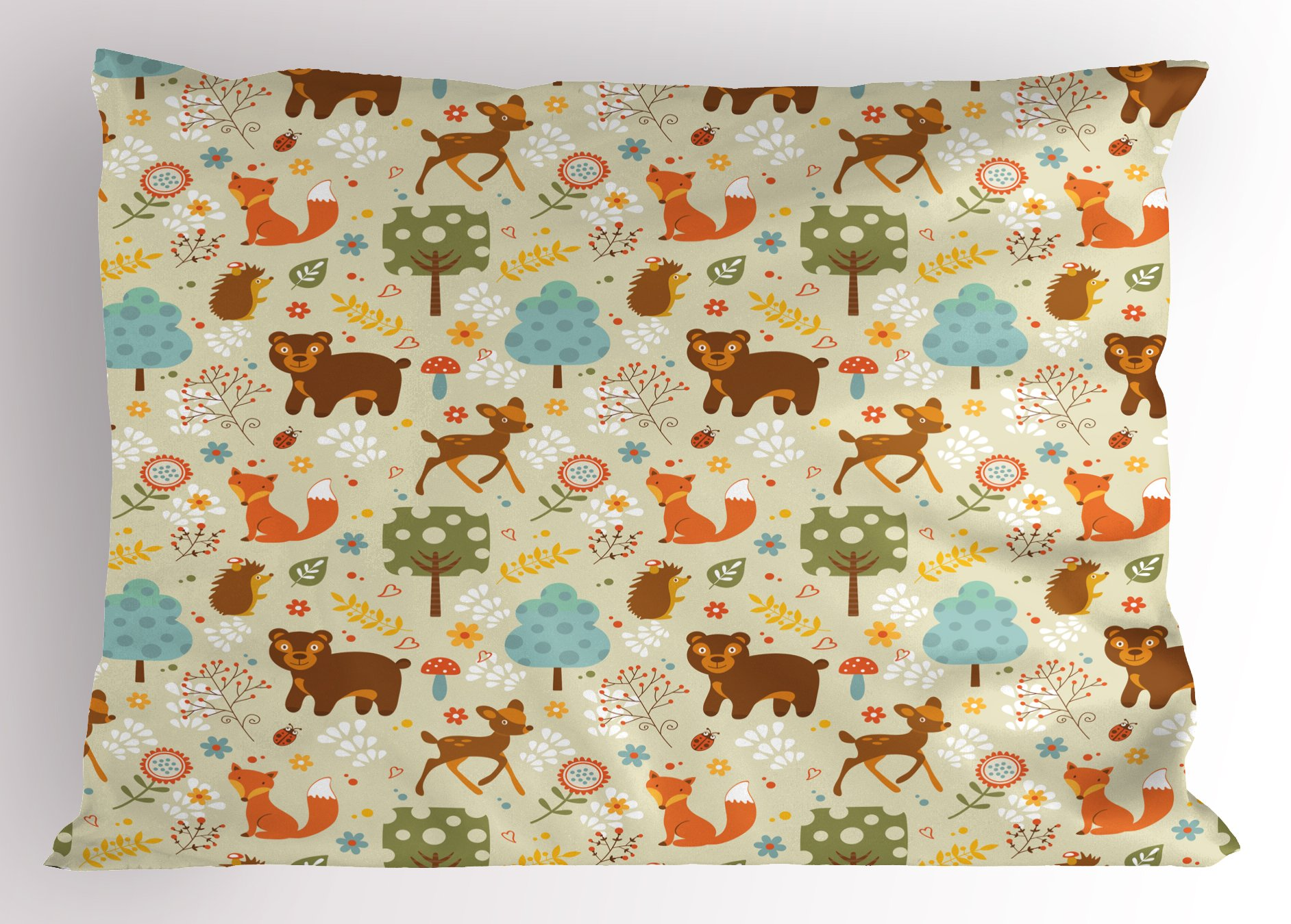 Lunarable Woodland Pillow Sham, Animals of The Woods in Pastel Colors Cheerful Bear Hedgehog Gazelle Fox Ladybug, Decorative Standard King Size Printed Pillowcase, 36 X 20 inches, Multicolor