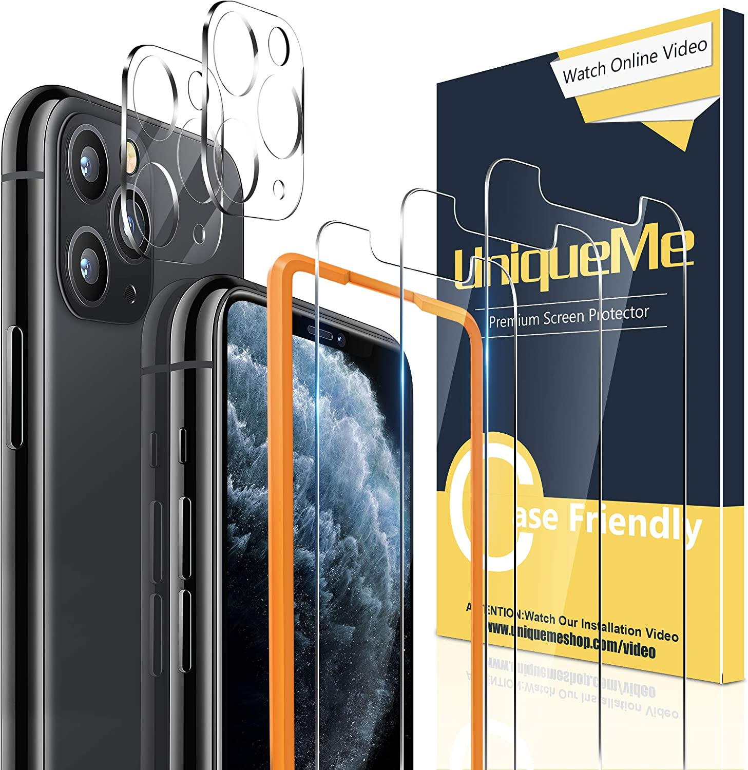 "[2+3 Pack] UniqueMe Camera Lens Protector and Screen Protector for iPhone 11 Pro Max 6.5"" Tempered Glass HD Clarity Bubble Free Easy Installation"