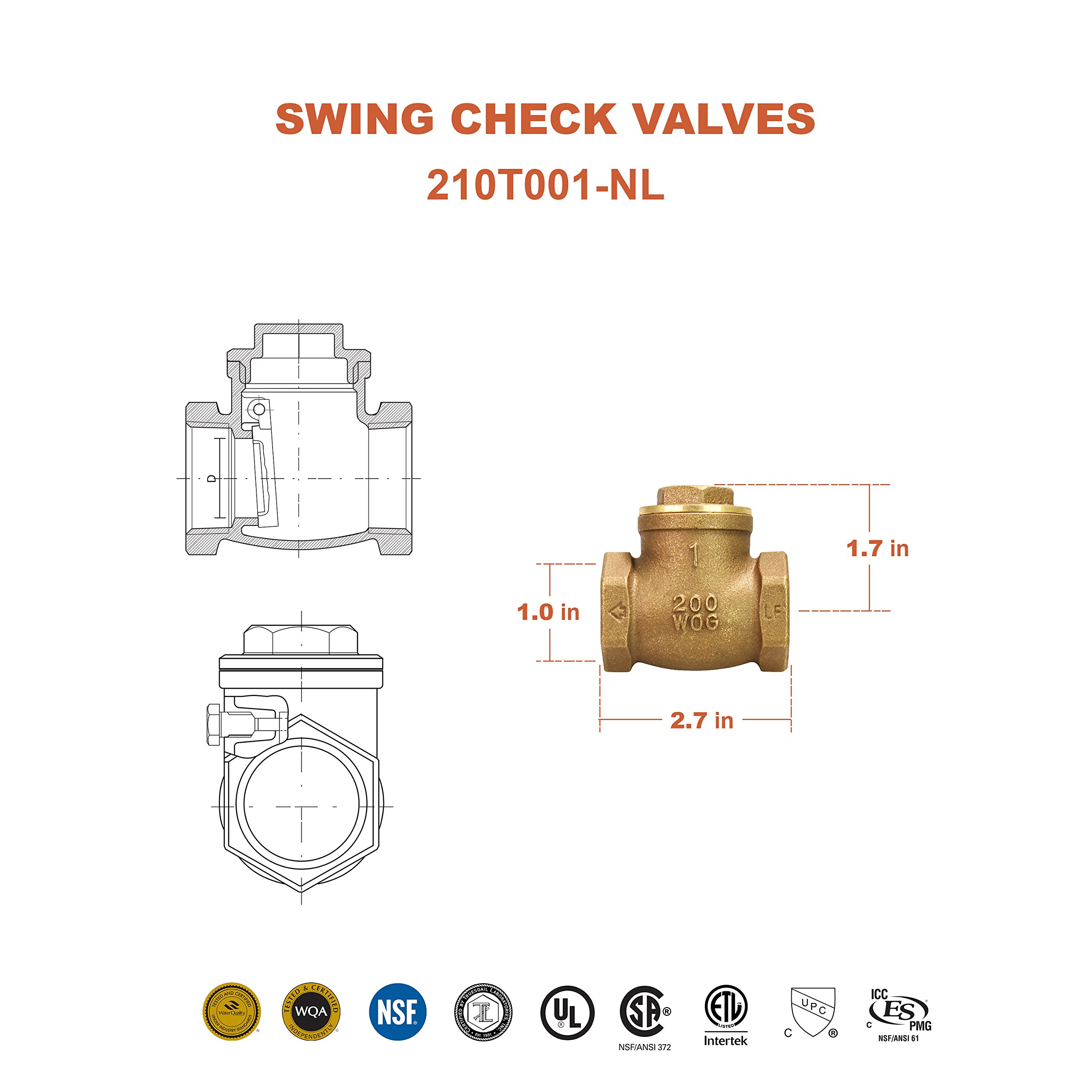 Everflow 210T001-NL 1-Inch Lead Free Brass Swing Check Valve with Female NPT Threaded, 200 PSI WOG & 125 PSI SWP, Brass Construction, Higher Corrosion Resistance Economical, Durable & Easy to Install by Everflow Supplies (Image #4)