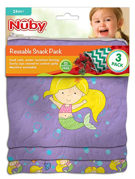 NUBY Reusable Snack Bag, Mermaid