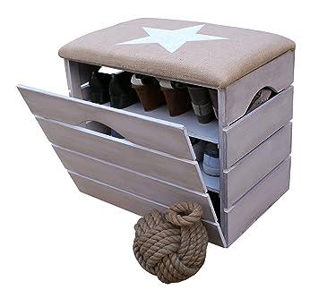liza line meuble chaussures avec abattant blanc vieilli banc de rangement pour chaussures
