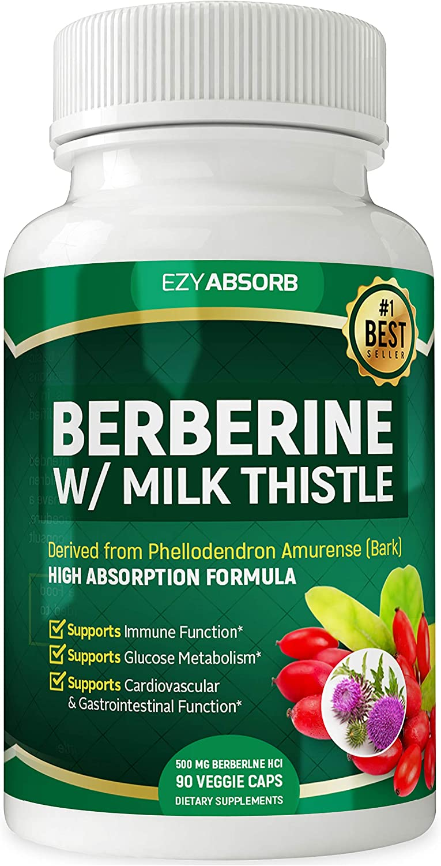 Amazon Com Ezyabsorb Gluten Free Berberine 500mg 90 Veggie Capsules For Blood Sugar Support W La 3 Ampk Metabolic Activator Health Personal Care