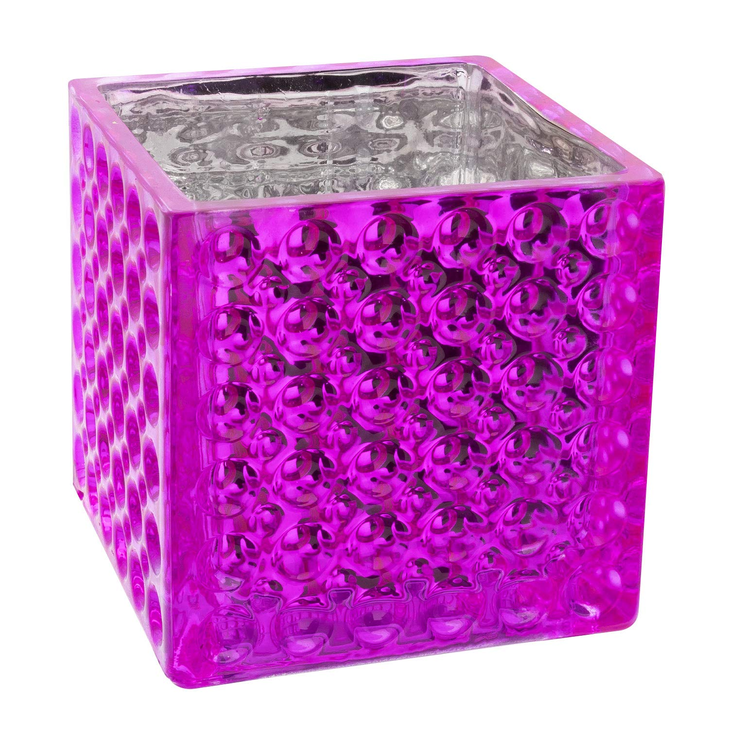 Royal Imports Flower Glass Vase Decorative Centerpiece for Home or Wedding Elegant Dimple Effect Cube, 5'' Tall, 5''x5'' Opening, Pink