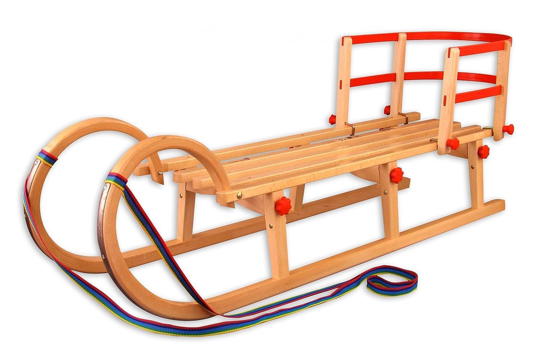 21-125-Lehne Hörnerschlitten + Lehne Klappschlitten Rodelschlitten Rodel Schlitten Holz , Länge:125 cm ...
