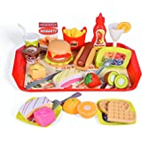 FUN LITTLE TOYS 40 PCs Play Food for Kids Kitchen, Play Kitchen Accessories, Toy Foods with Cutting Fruits and Fast Food…