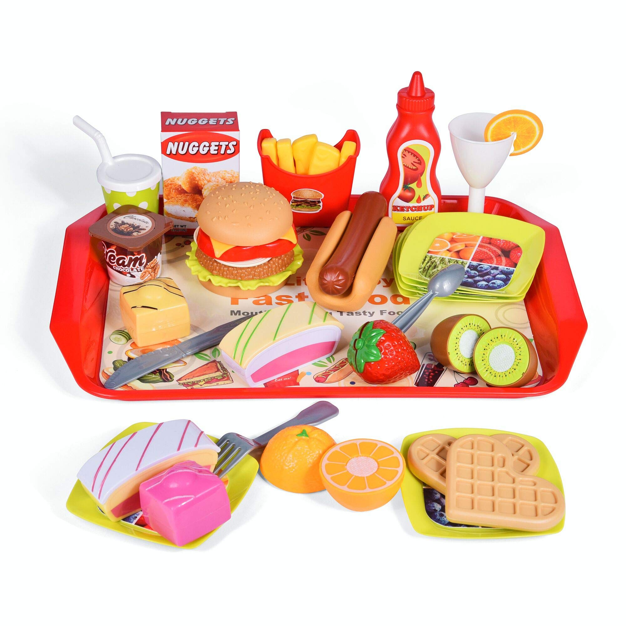 FUN LITTLE TOYS 40 PCs Play Food for Kids Kitchen, Play Kitchen Accessories, Toy Foods with Cutting Fruits and Fast Food for Pretend Play, Kids Birthday Gifts by FUN LITTLE TOYS