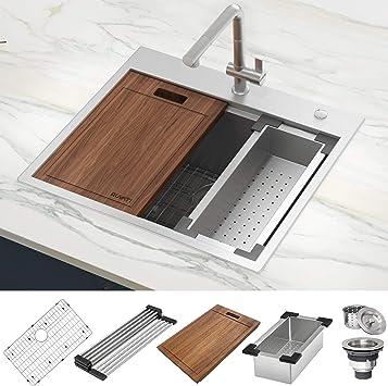 Ruvati 25 X 22 Inch Workstation Drop In Tight Radius Topmount 16 Gauge Stainless Steel Ledge Kitchen Sink Single Bowl Rvh8023 Amazon Co Uk Diy Tools