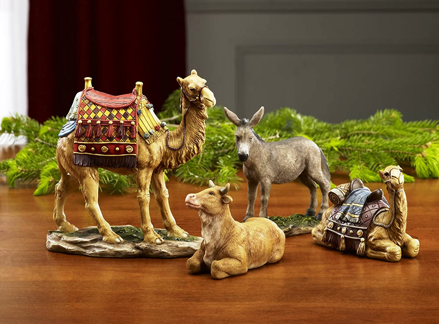 Traditional Nativity Animal Figurines Deluxe 4 Piece Resin Stone Set Three Kings Gifts GFM021