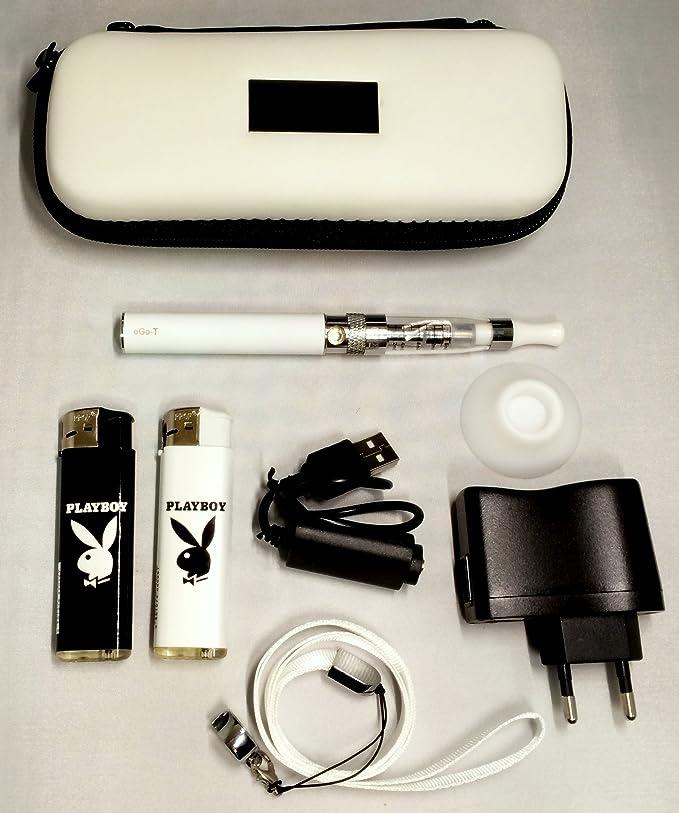 Estuche, Kit completo: (vapeador) cigarrillo electrónico blanco eGo CE4+ 900mAh + golgante + regalos:ventosa + 2 x mecheros de coleccion Playboy. producto (productos) está exento (sin) nicotina y tabaco.: Amazon.es: Salud y