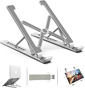 "Adjustable Laptop Stand, Ergonomic Double Triangular Desige Aluminum Ventilated Portable Tablet Stand Computer Stand, Compatible with MacBook, HP, 7 Height, More 11-17"" Collapsible Laptops (Silver)"