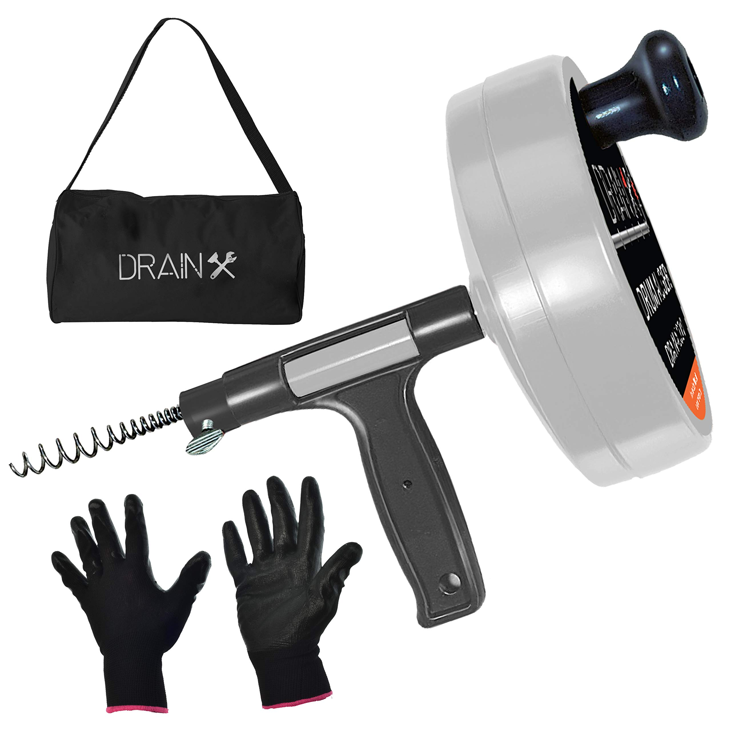 Drainx Pro 50-FT Steel Drum Auger Plumbing Snake with Work Gloves and Storage Bag by DrainX