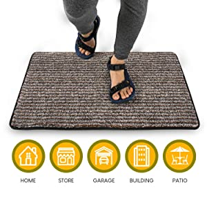"""Large Mat: Front Door Mat for Indoor Outdoor Entry Rug   24""""x 36"""" Non Slip Floor Mat   Low Profile with Binding to Prevent Fraying   Welcome Mat for Entryway or Dog   Non Slip and High Absorbency"""