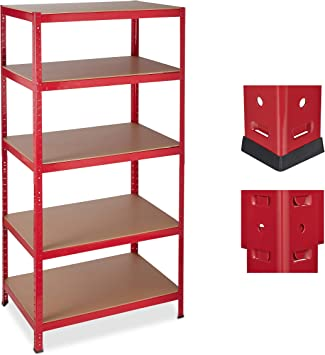 Relaxdays Etagere Charge Lourde Meuble Rangement A Clip Cave Charge 1325 Kg Garage 180x90x60 Cm Metal Mdf Rouge Amazon Fr Bricolage
