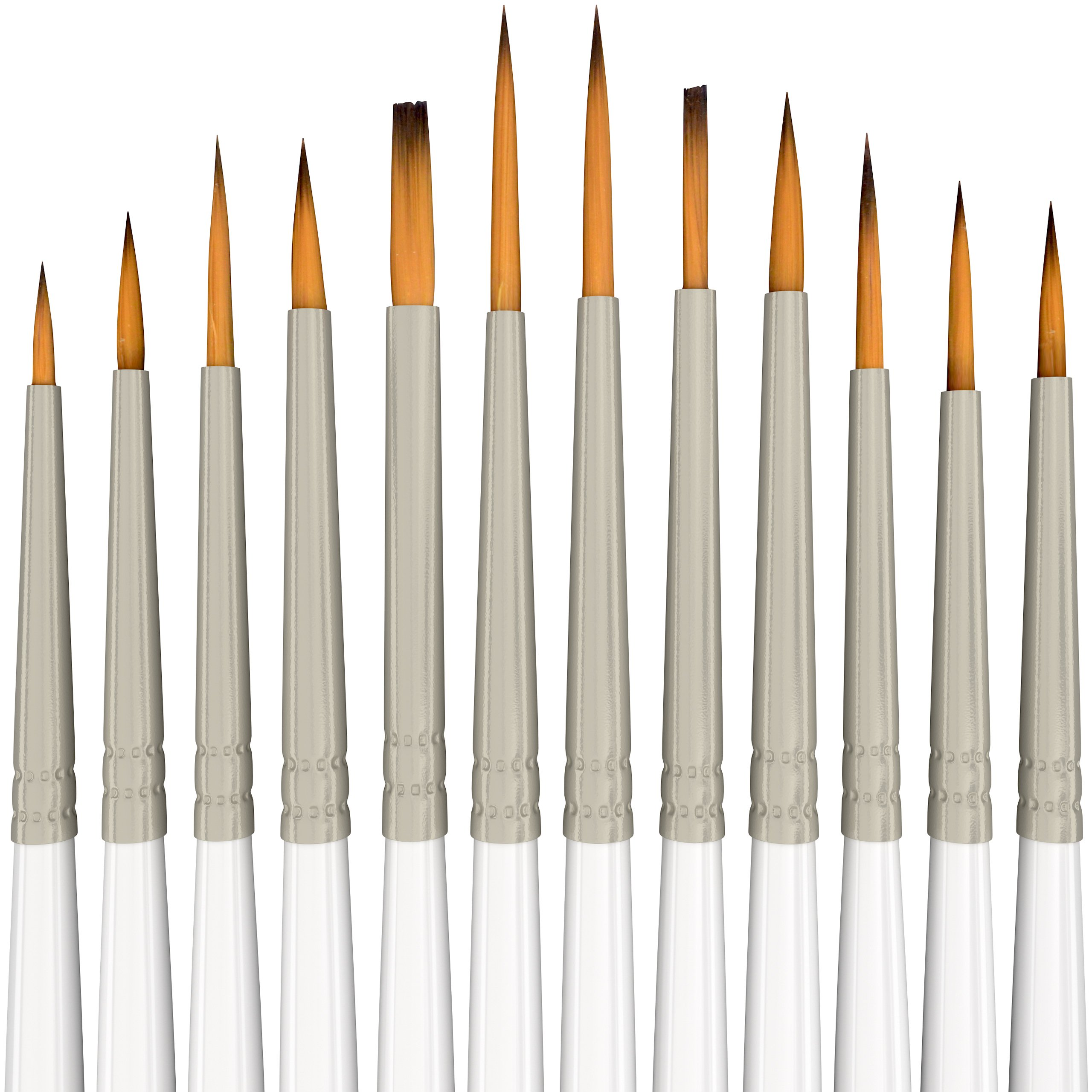 Detail Paint Brush Set - 12 Miniature Brushes for Fine Detailing & Art Painting - Acrylic, Watercolor, Gouache, Oil - Models, Airplane Kits, Ink, Warhammer 40k - Artist Quality Supplies by MyArtscape by MyArtscape