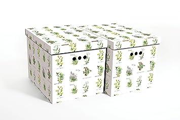 Cajas decorativa de cartón para almacenamiento, tamaño grande, 2 piezas, para hogar, oficina, dormitorio, armario, organizador, HERBS, 42x32x32: Amazon.es: ...