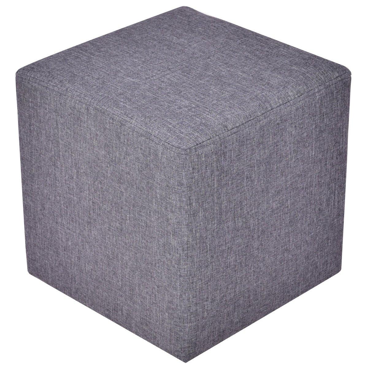 Giantex Linen Ottoman Cube Square Foot Stool Seat Wood Frame, Gray
