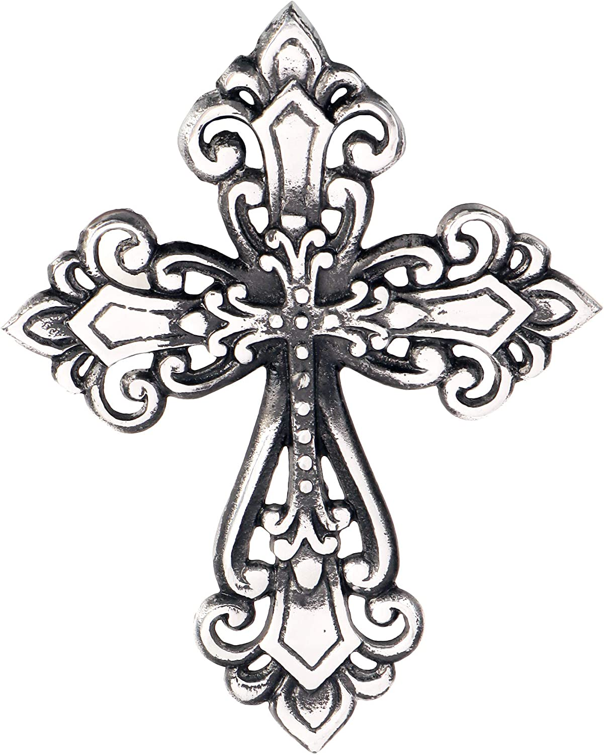 Ardour Antique Silver and Black Wall Cross for Home Decor.Metal Hanging Decorative Crosses Wall Decor - 7 x 9 Inches