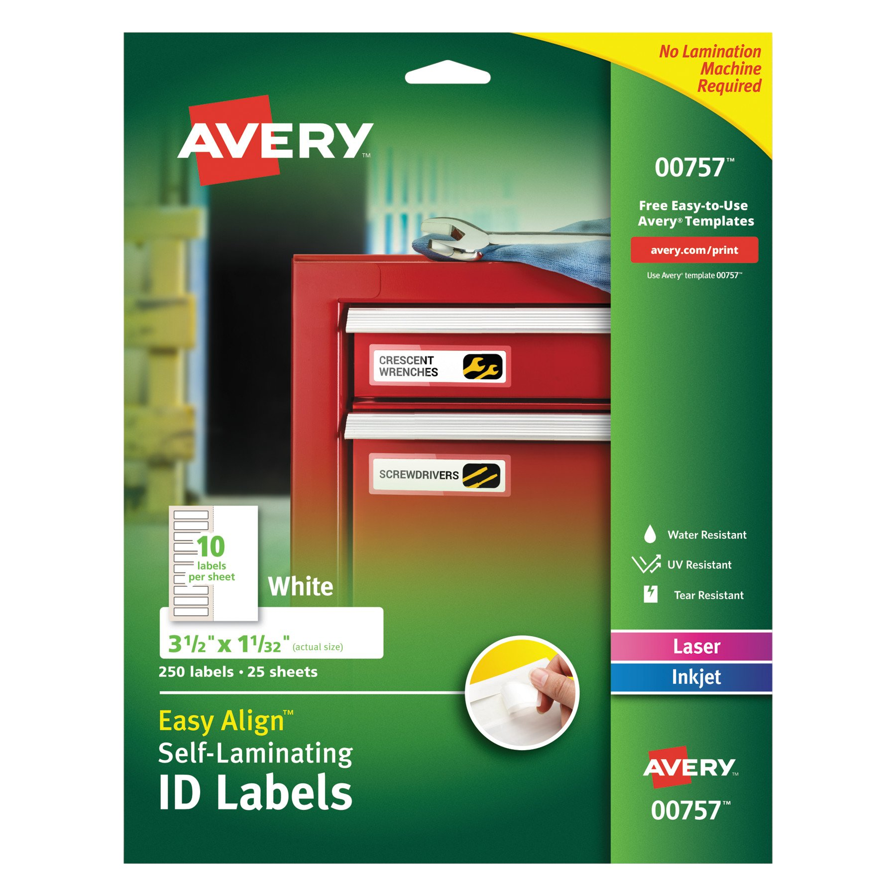 Avery 00757 Easy Align Self-Laminating ID Labels, Laser/Inkjet, 1 1/32 x 3 1/2, White (Pack of 250) by AVERY