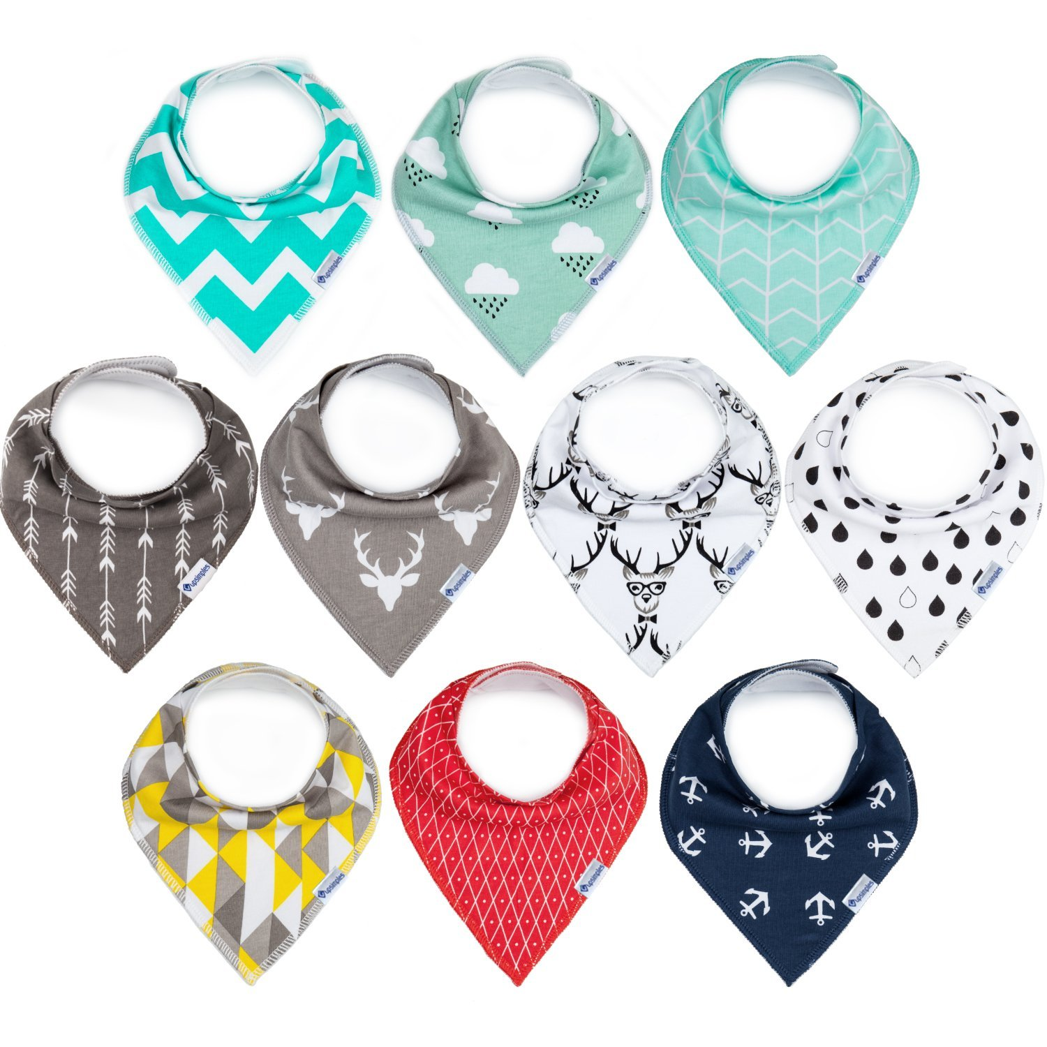 100/% Cotton and Super Absorbent Bibs for Baby Boys and Girls Baby Shower Gift Set 10-Pack Baby Bibs Upsimples Baby Bandana Drool Bibs Unisex for Drooling and Teething