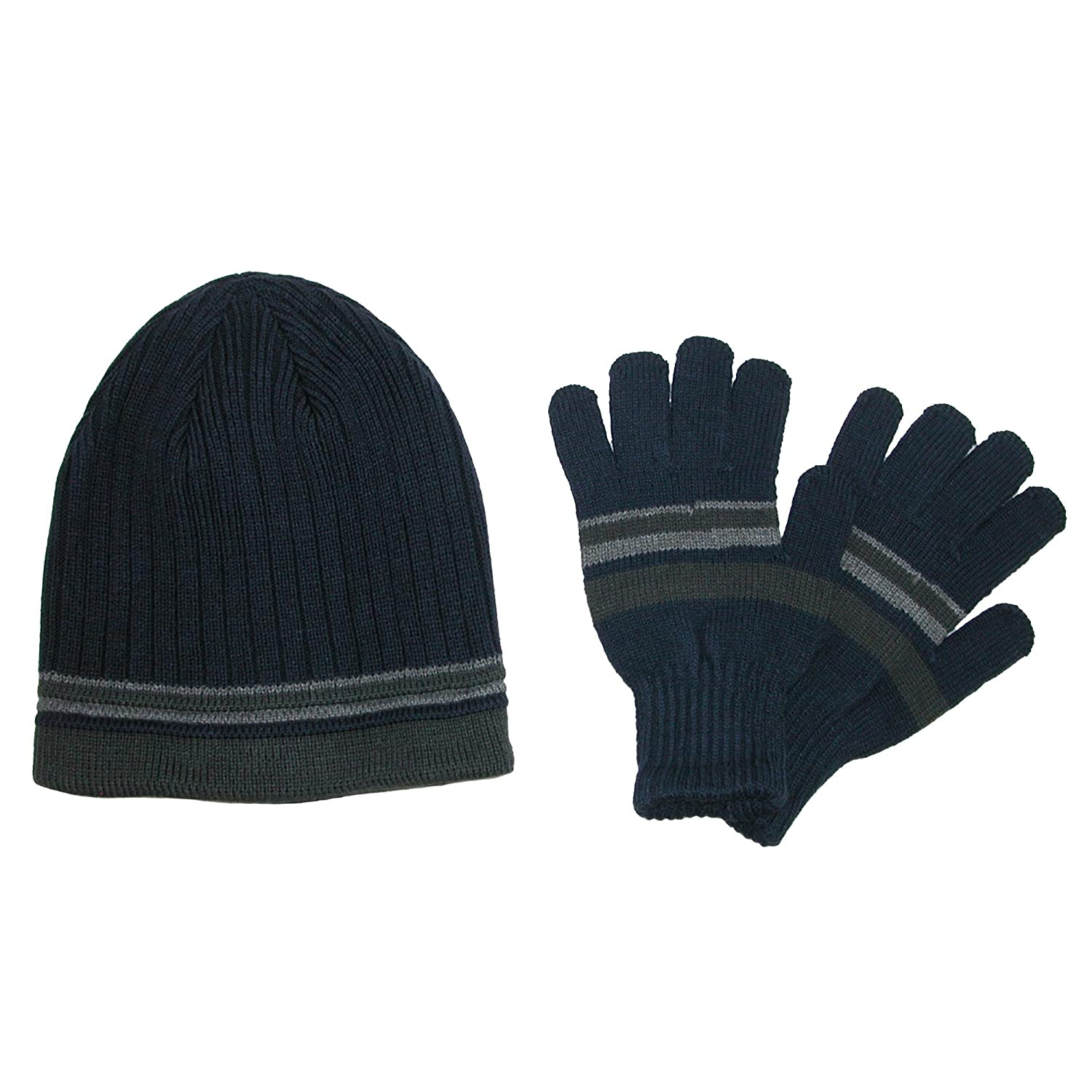 CTM Men's Knit Striped Beanie and Gloves Winter Set Black RG-K2213-BLK