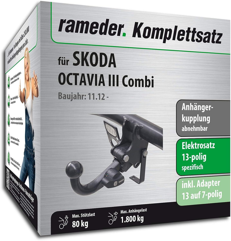 Rameder Komplettsatz 148937-11196-1 Anh/ängerkupplung abnehmbar 13pol Elektrik f/ür Skoda Octavia III Combi