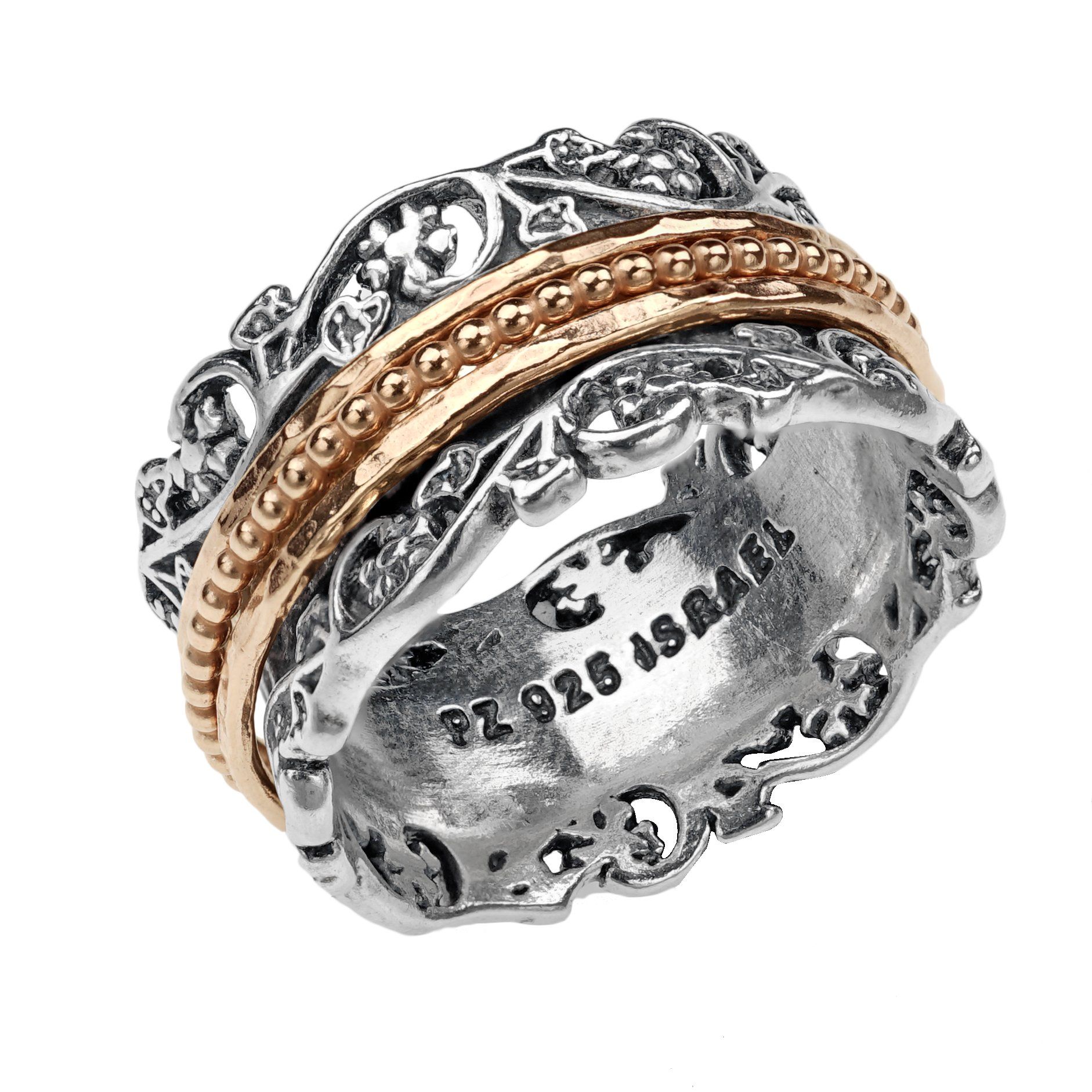 Paz Creations .925 Sterling Silver and Rose Gold over Silver Spinner Ring (8), Made in Israel