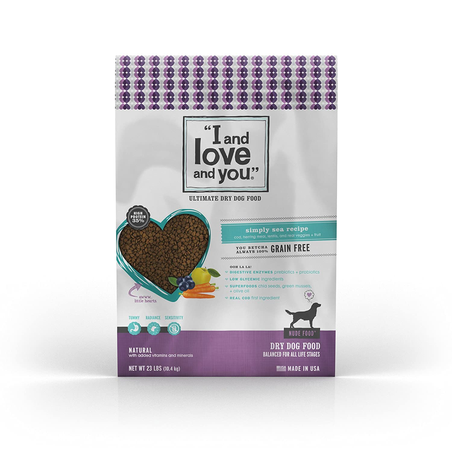 """I and love and you"" Nude Food Simply Sea Grain Free Dry Dog Food, 23 LB"
