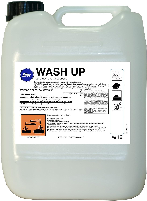 Elios - WASH UP detergente lavastoviglie industriali per acque dure ad alta concentrazione di sequestranti e capacità lavante. Il WASH UP è adatto per i lavaggi in presenza di acque dure. La sua formulazione lo rende particolarmente efficace