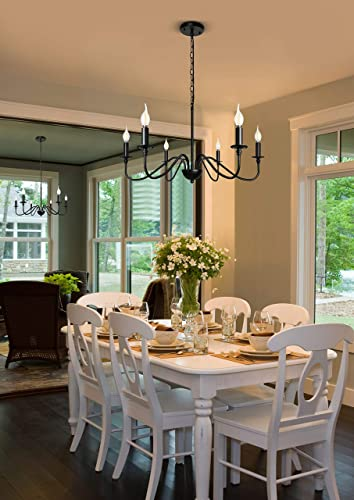 Black Farmhouse Chandelier 6-Light Industrial Candle Ceiling Pendant Lighting Fixture Hanging for Kitchen Island Dining Table Living Room