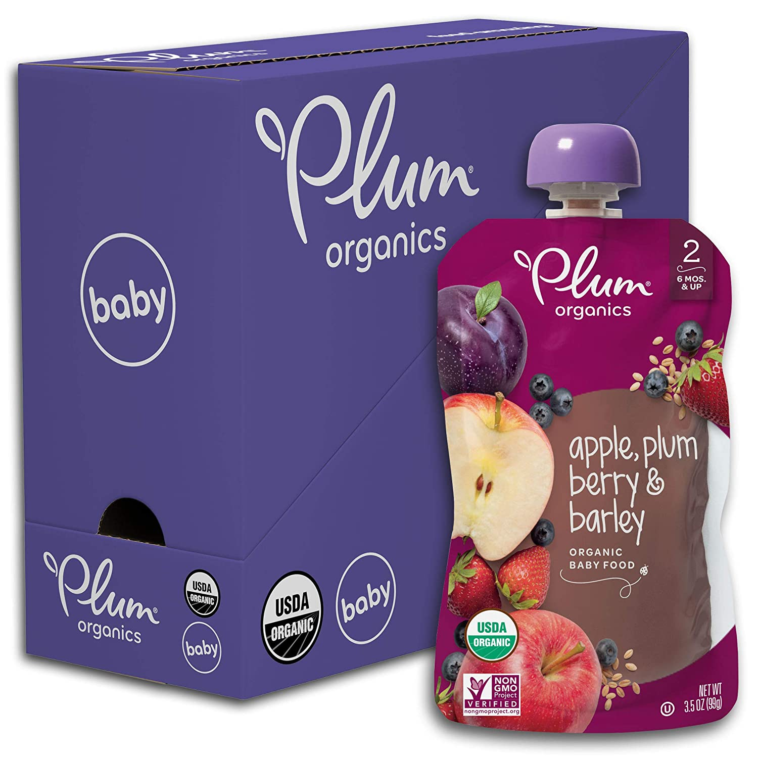 Plum Organics Stage 2 Organic Baby Food, Apple, Plum, Berry & Barley, 3.5 Ounce Pouch (Pack of 6)