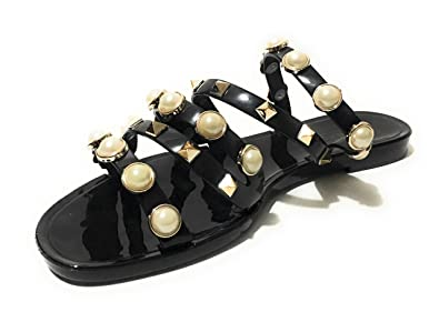 6106544a8f1828 ANN MORE Womens Rivets Bowtie Flip Flops Jelly Thong Sandal Rubber Flat  Summer Beach Rain Shoes
