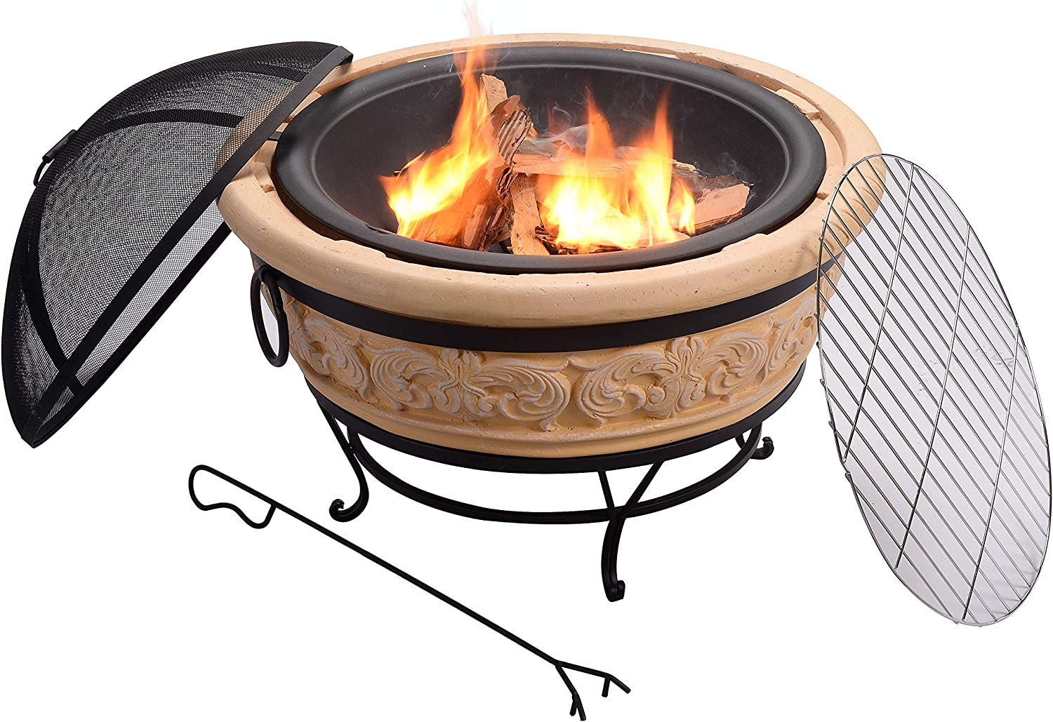 Peaktop HR30180AA Wood Burning Fire Pit Outdoor Garden Round Gray 30 Inches