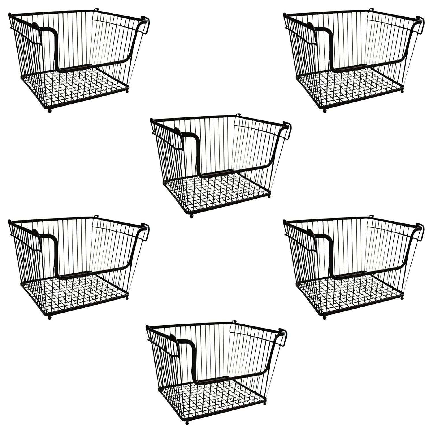 KURTZY 6 Pcs Stackable Wire Basket - Wire Storage Baskets with 2 Carrying Handles - Compact Storage basket (Black) Ideal for kitchen, bathroom - Save Space around House - 30cm x 21.5cm x 27cm