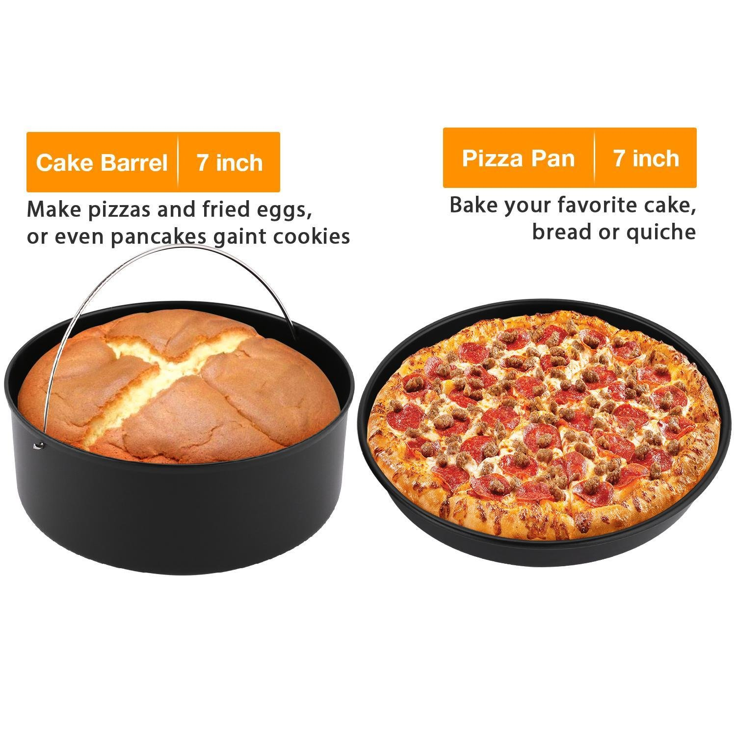 3 Piece Grill Set - 7 inch Cake Barrel, 7 inch Pizza Pan and 7 inch Metal Holder...