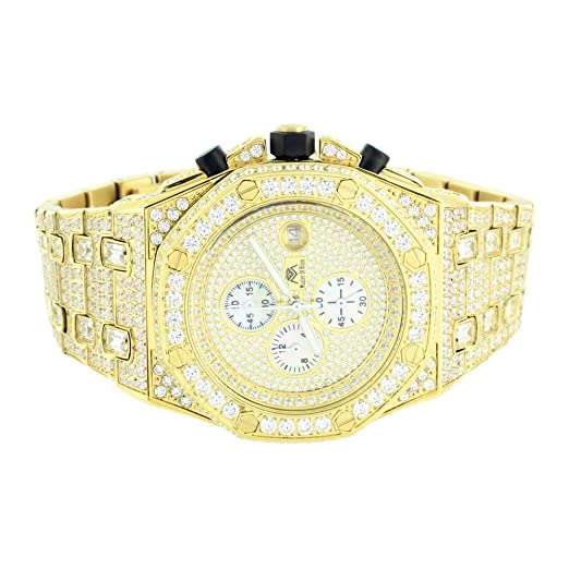 Para hombre acero inoxidable reloj oro simulado diamantes Joe Rodeo Jojo JoJino AP-01: Amazon.es: Relojes