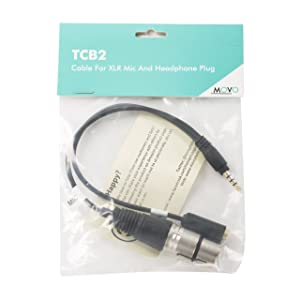 Movo TCB2 XLR (Female) Microphone to TRRS (Male) Smartphone Adapter with Headphone Jack for iPhone & Android