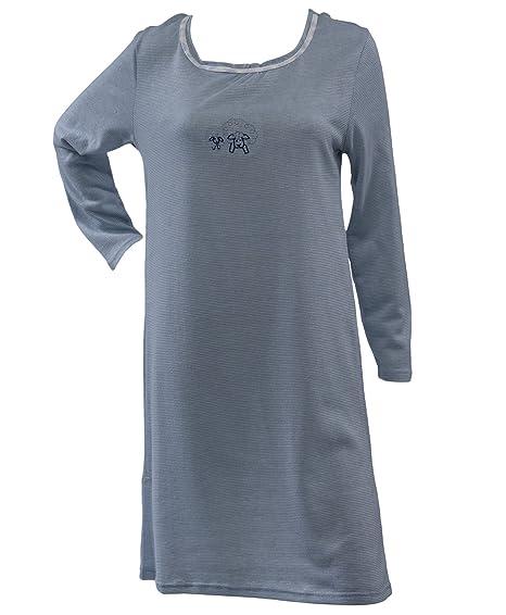 b6177db7c9 Waites Ladies Striped 100% Jersey Cotton Nightdress Sheep Motif Long  Sleeved Nightie UK 22