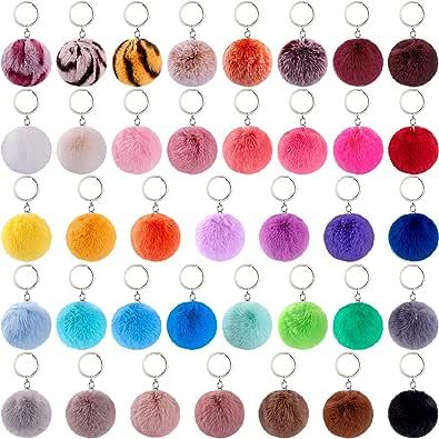 BQTQ 38 Pieces Pom Pom Keychains Rabbit Faux Fur Pom Pom Balls Keychain Fluffy Pom Poms Keyirings for Women Girls Bag Accessories (38 Bright Colors)