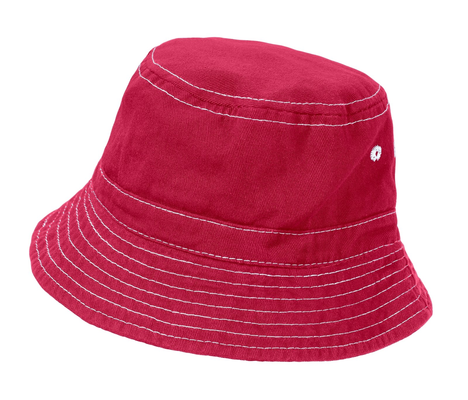 City Threads Big Boys' and Girls' Solid Wharf Hat Bucket Hat for Sun Protection SPF Beach Summer - Candy Apple - S(0-6M)
