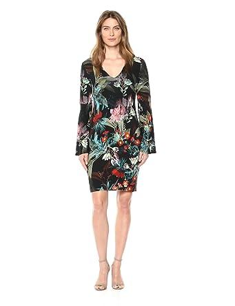 47f6e1fa196b4 Karen Kane Women s V-Neck Bell Sleeve Dress at Amazon Women s ...