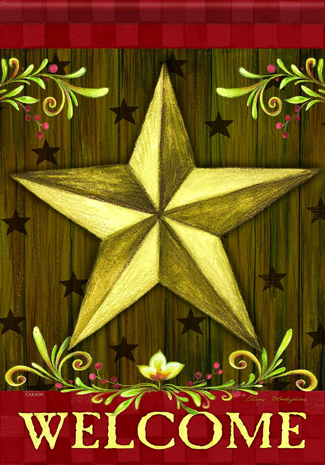 Carson Home Accents FlagTrends Classic Garden Flag, 13 by 18-Inch, Welcome Star