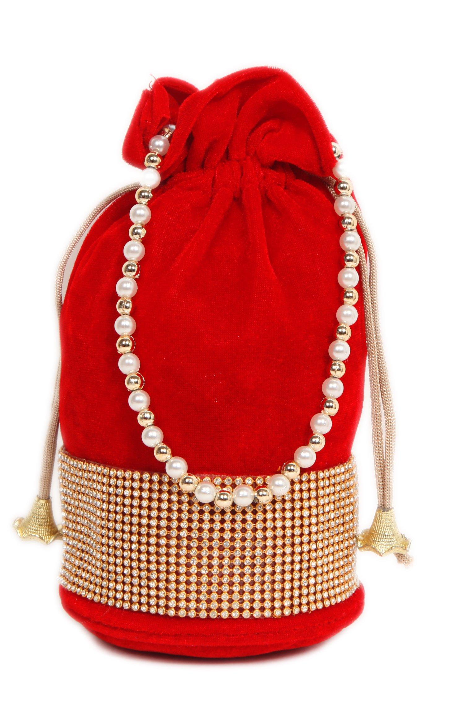 Indian Ethnic Handbag Stylish Red Velvet Potli Bag With Designer Pearls