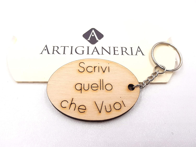 ArtigianeriA - Portachiavi in legno, personalizzato con testo a scelta. Incisione realizzata a laser in Italia. Idea regalo per ogni occasione.