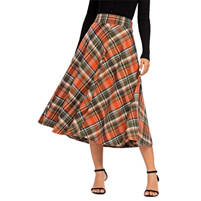 Alcea Rosea Womens Chic Elastic High Waist Midi Skirt A-line Plaid Flare Long Skirt at Women's Clothing store