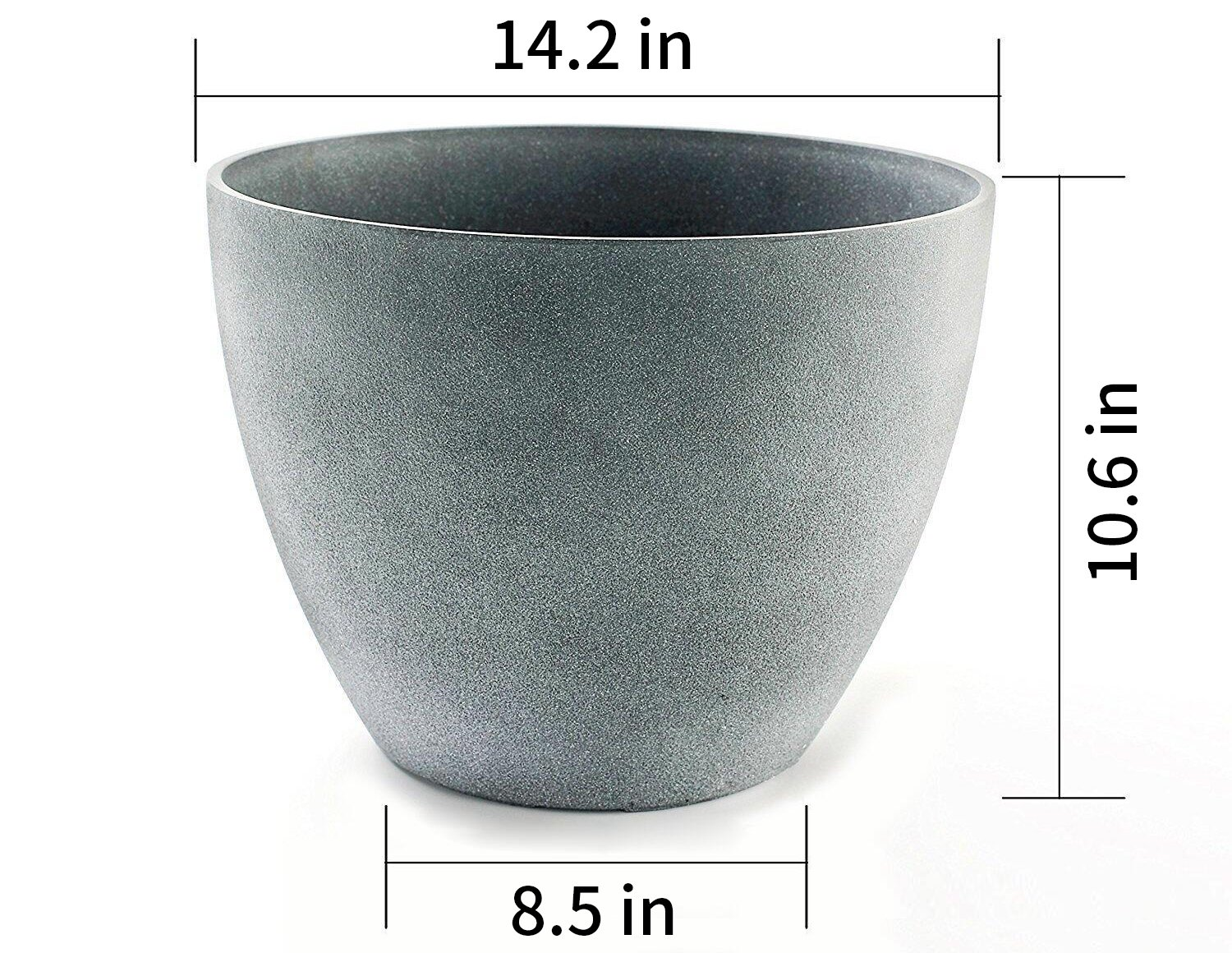 Flower Pot Large 14.2'' Garden Planters Outdoor Indoor, Unbreakable Resin Plant Containers with Drain Hole, Grey by LA JOLIE MUSE