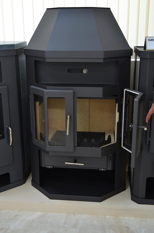 Estufa de leña con caldera integral 2 puertas arco 14/18 kW calefacción potencia cerámica forro superior flauta: Amazon.es: Bricolaje y herramientas