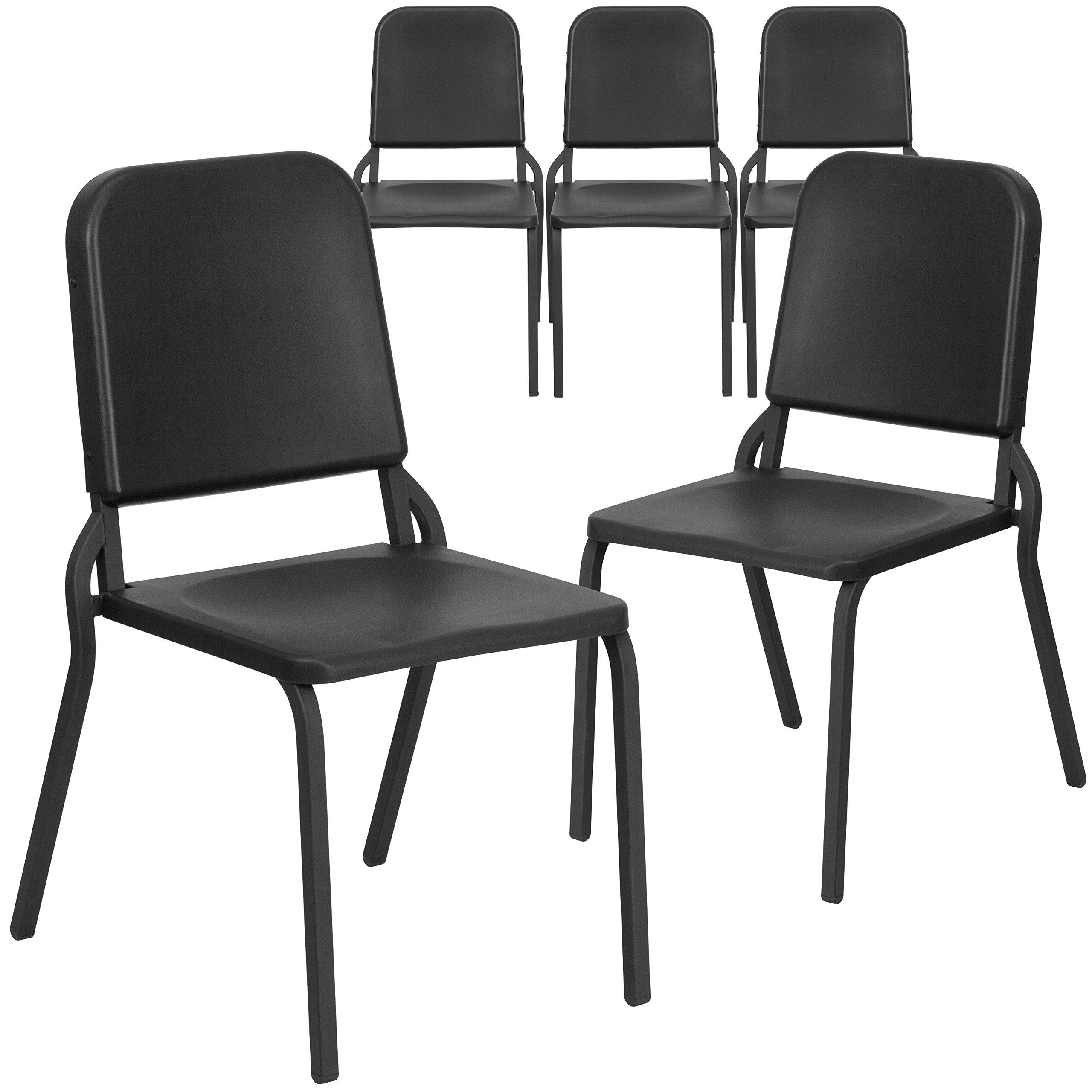 Flash Furniture 5 Pk. HERCULES Series Black High Density Stackable Melody Band/Music Chair